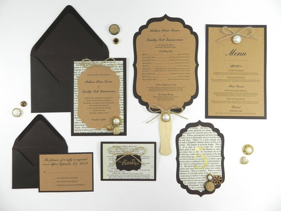 Mariage - Victorian Book Page Wedding Invitation and Stationery Package