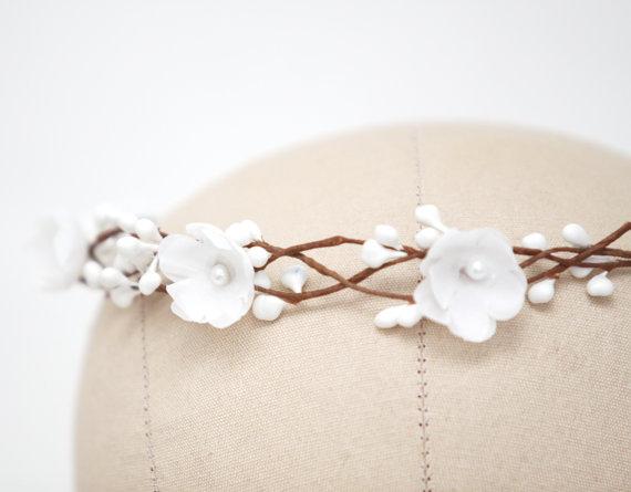 Mariage - Bridal Hair Accessories, Bridal Flower Crown, Bridal Headband, Floral Crown, Flower Girl Hair Wreath, Weddings, Wedding Headband