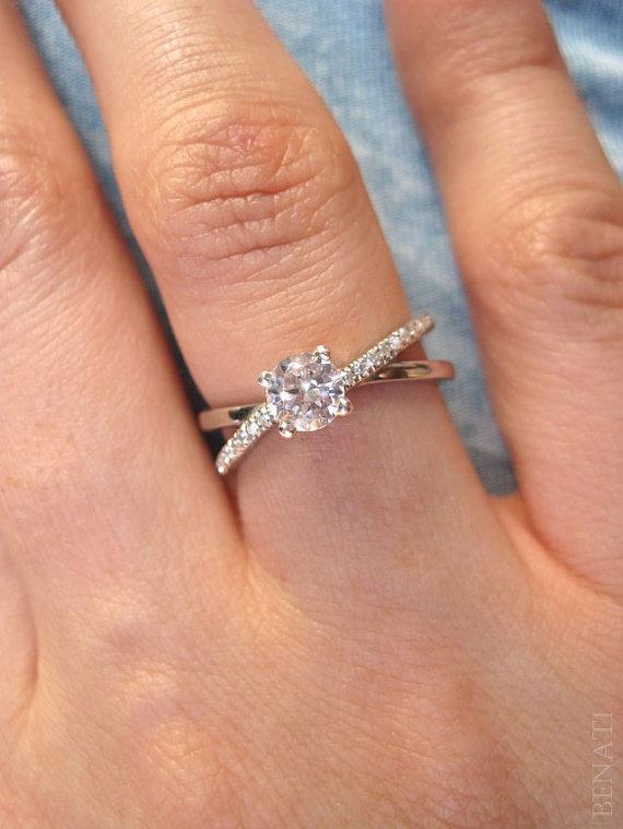 Hochzeit - Infinity Engagement  Ring - Diamond Infinity Engagement Ring, 14k Gold & Diamonds, Braided Engagement Ring, Diamond Infinity Ring