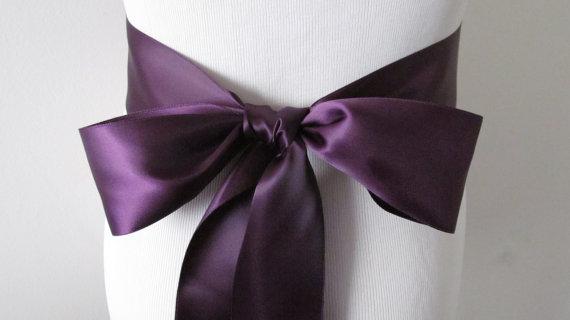 Mariage - Eggplant Ribbon Sash / Double Faced Ribbon Sash / Bridal Sash  /Bridal  / Eggplant