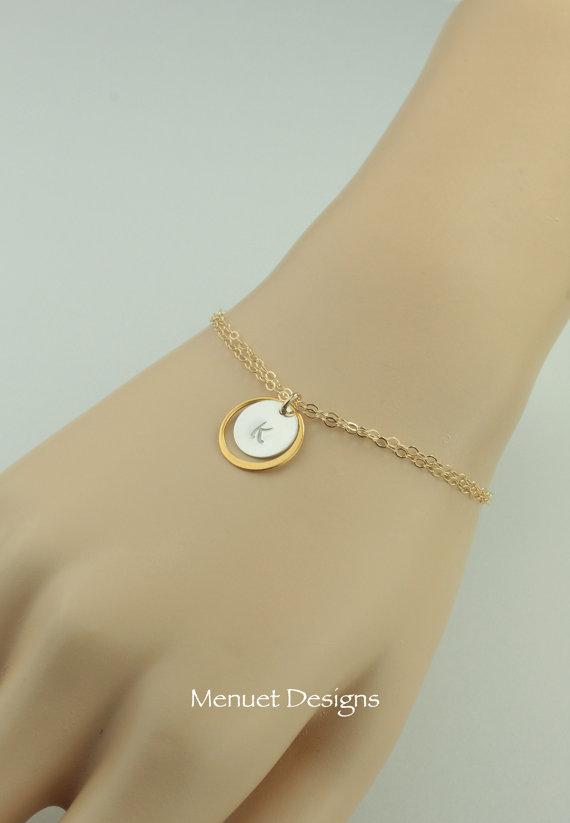 Свадьба - Personalized Jewelry, Initial Bracelet, Wedding Bracelet, 24K Vermeile Gold Ring, Silver Initial Disc, Friendship Bracelet, Bridesmaids Gift