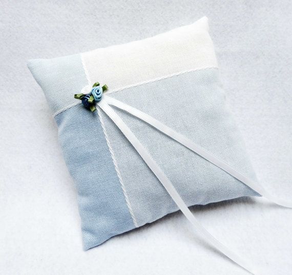 Mariage - SALE Light Blue and White Ring Bearer Pillow with Roses