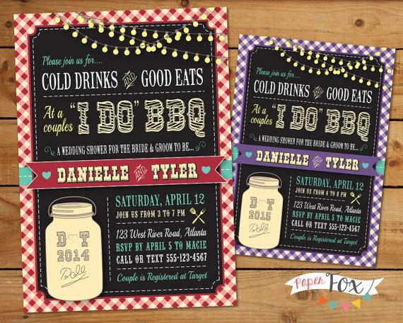 Wedding - I Do BBQ Wedding Shower Invitation  // Couples Bridal Shower //  Mason Jar Chalkboard Western Shower // Country Chic - PRINTABLE