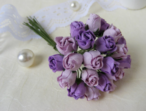 24 Mixed Purple Tone Rosebud Mulberry Paper Flowers For Crafts