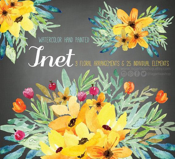 Свадьба - Watercolor Floral clipart, PNG, wedding bouquet, arrangement, bouquet, frames, digital paper, blue flowers, bridal shower, for blog banner