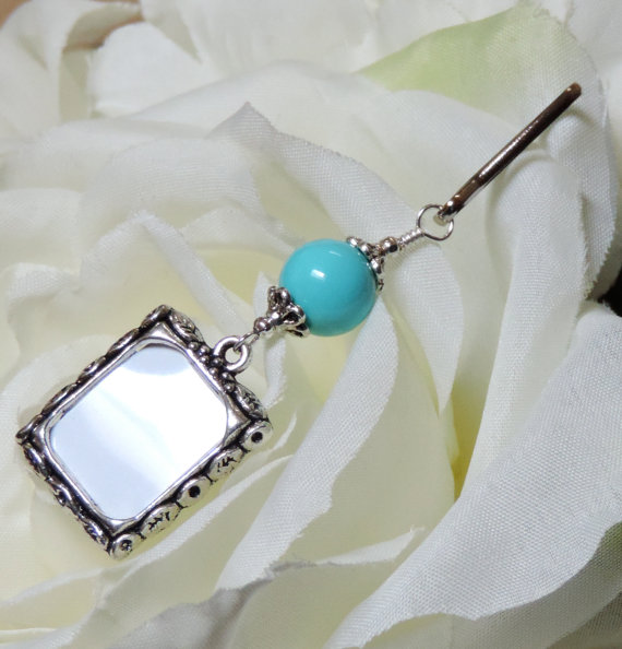 Свадьба - Wedding bouquet photo charm. Something blue for the bride, memorial charm.