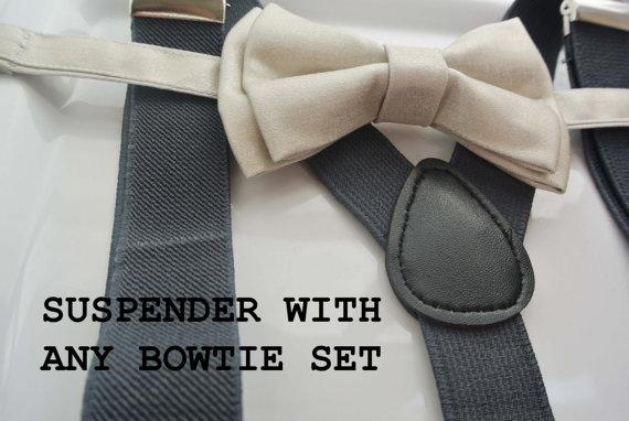 Wedding - Choose Any bowtie with Dark Grey Suspender !! for toddler/ boy/ men/ baby