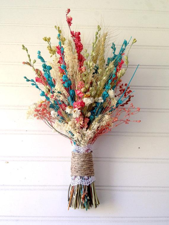 Свадьба - Coral and teal flower bouquet - dried flowers - spring wedding - wedding party flowers