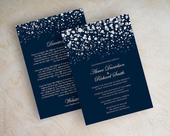 Mariage - Polka dot wedding invitation, modern, snow, snowfall, snowy, starry night, twinkling lights, glitter wedding invitation, navy blue, Glitter