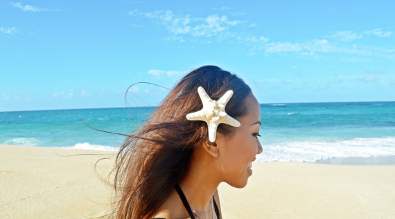Свадьба - Knobby Starfish Barrette - Bridal Accessories, Wedding Hair Clip, Ariel Halloween Mermaid Hair Clip, Starfish Hair Accessories