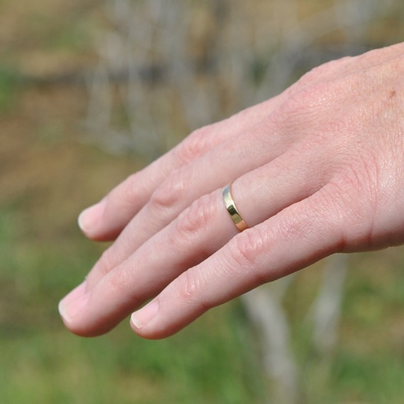 Wedding - 18K Yellow Gold Hand Forged 3mm Smooth Wedding Band or Ring, size 6.25 through 9, any size available, Sea Babe Jewelry, any size available