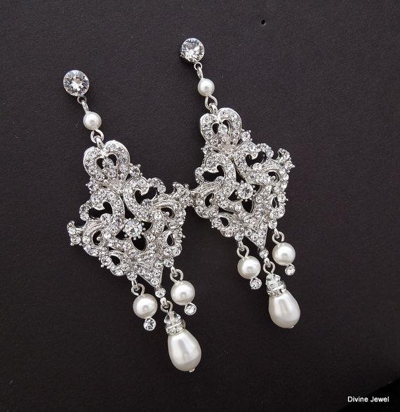 Свадьба - Bridal Chandelier Earrings,Ivory Swarovski Pearls,Chandelier Wedding Earrings,Bridal Rhinestone Earrings,Statement Bridal Earrings,KAREN