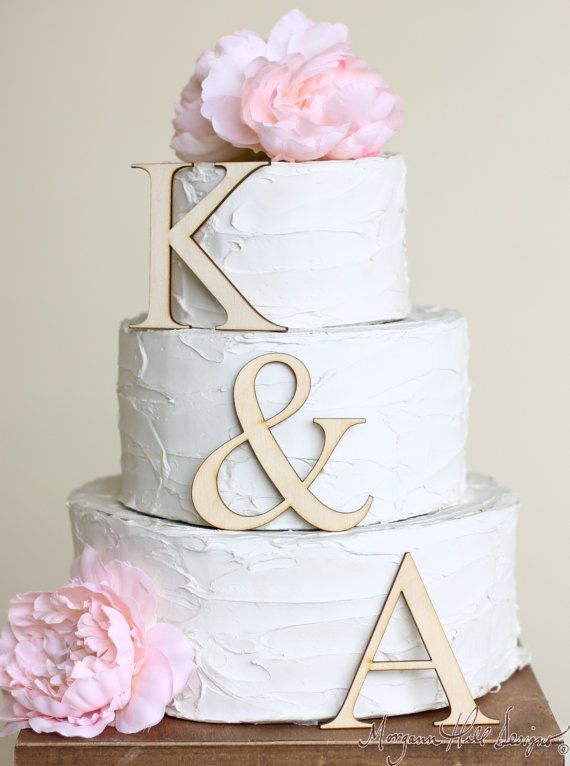 Wedding - Personalized Wedding Cake Topper Wood Initials Rustic Chic Country Barn Decor Cake Decorations (Item Number 140303) NEW ITEM