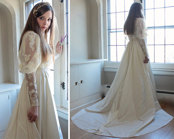 Mariage - 70s Vintage Victorian WEDDING DRESS Romantic Woman's Mutton sheer sleeves Ivory White LACE Traditional formal train ladies Bride to Be Gown