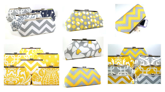 Mariage - Wedding Clutch Bridesmaid Gifts Wedding Party Clutch Purse Bags Custom Personalized Gifts - You Design Your Set Grey Yellow