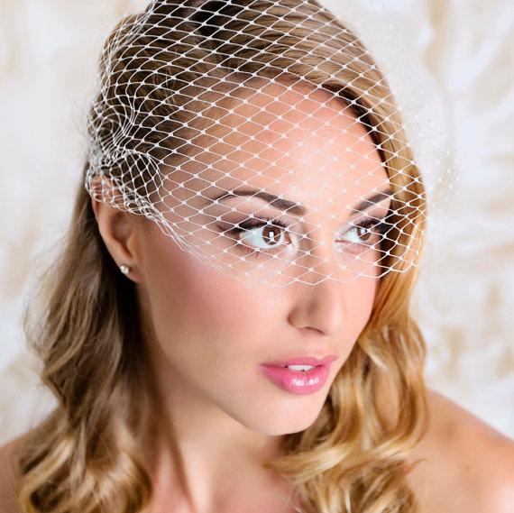 Mariage - Bandeau Style Veil 9 inch Fench Net Ivory Wedding Bridal Birdcage Veil on Rhinestone Bobby Pins