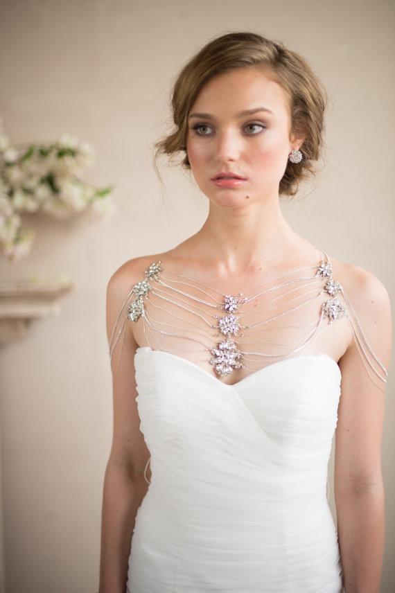 Shoulder Necklace- Bridal Body Jewelry Silver Crystal Rhinestone ...