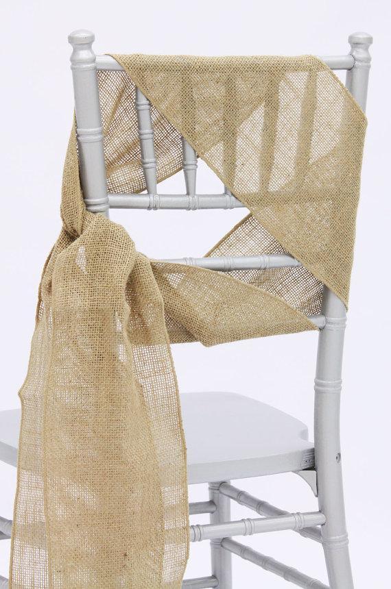 Hochzeit - Shabby Chic Burlap Chair Sashes