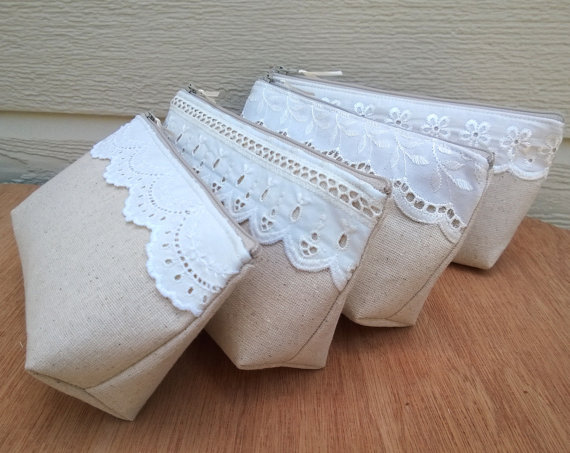 Mariage - Bridesmaid Clutches, Fall Wedding Bridesmaid Clutch Purse, Lace, Bridesmaids Gift, Wedding -  Set of 12
