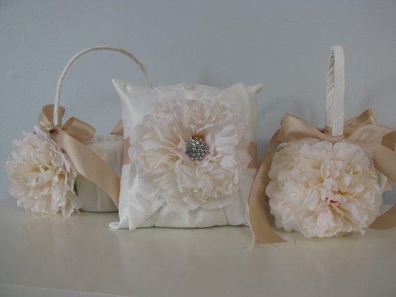 Mariage - Flower Girl Baskets and Ring Bearer Set of 3- Satin Ivory or White Ivory Peony Champagne/Taupe  and Rhinestone Center- You Customize