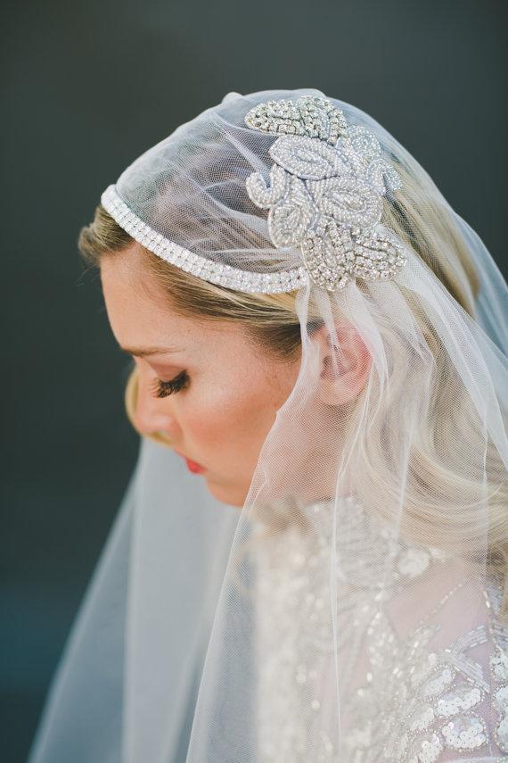 Свадьба - Crystal Veil, Bridal Veil, Juliet Cap Veil, Juliet Veil, Silver Beading Veil, Wedding Veil, Beaded Veil, BOHO Veil, Chapel Length #1101