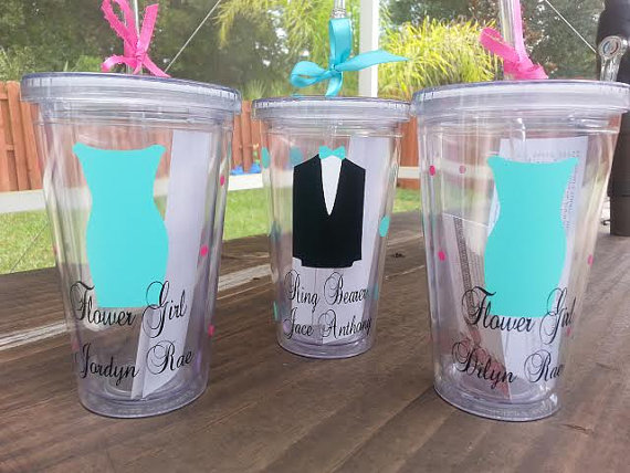 Mariage - Ring boy/Bearer flower girl 16oz personalized monogram tumbler cup acrylic double wall PERFECT gift choose your vinyl colors