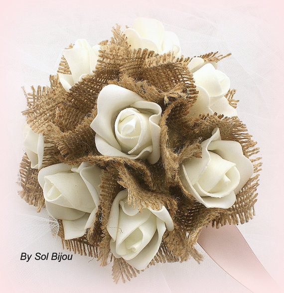 Mariage - Bouquet, Simple, Flower Girl, Junior Bridesmaid, Ivory, Cream, Rose with Satin, Lace and Burlap, Shabby Chic, Rustic, Vintage Wedding