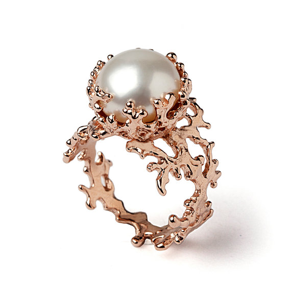 Mariage - CORAL White Pearl Ring, Pearl Engagement Ring, 14k Rose Gold Engagement Ring, Rose Gold Pearl Ring, Rose Gold Ring