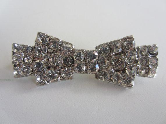 زفاف - Vintage Button - beautiful and unique rhinestone bow design, fastener/ embellishment, rhinestone embellished (lot mar 386)