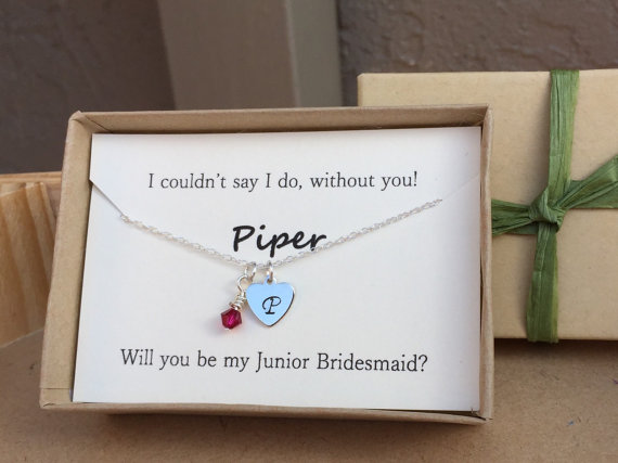 Свадьба - Will you be my Junior Bridesmaid Maid of Honor birthstone wedding color Initial heart necklace I couldn't say I do without you Wedding gift