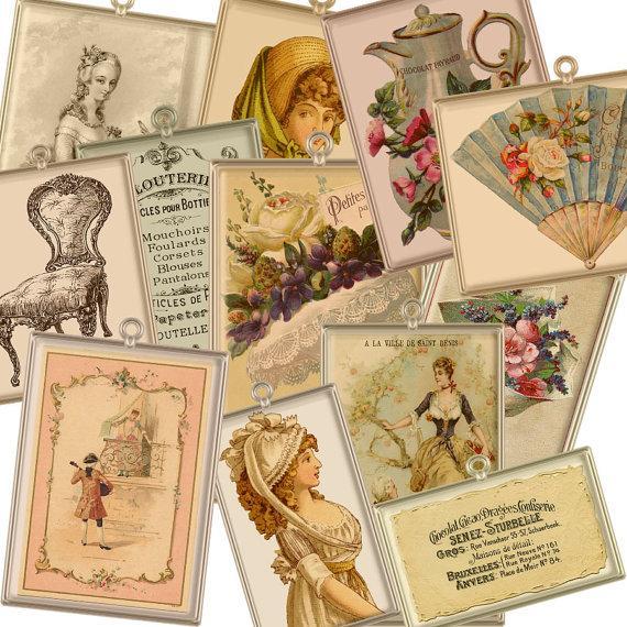 زفاف - Buy 1 Get 1 Free Vintage Parisian French Charms Antique Paris Ladies Bouquets Labels Clipart Scrapbooking Digital Graphics Instant Download
