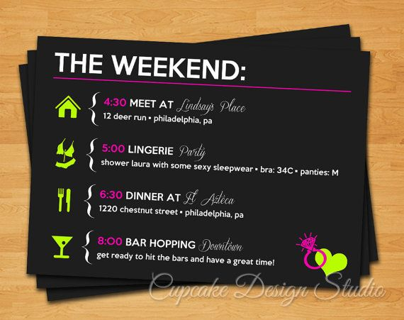 Wedding - Printable Bachelorette Party Itinerary -- Lucky In Love Collection