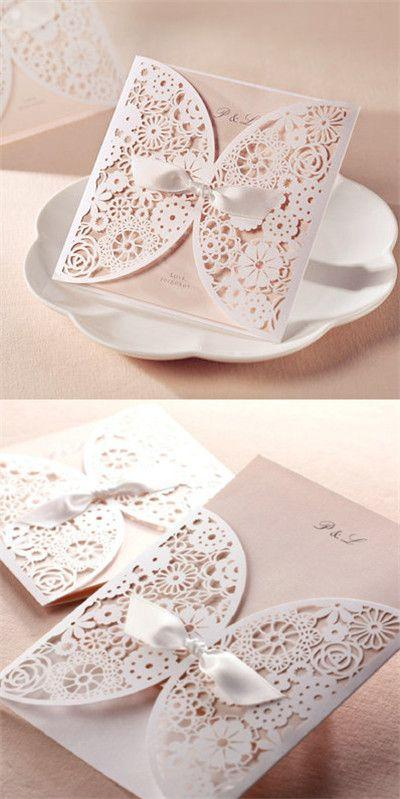 Wedding - Affordable Romantic Laser Cut Blush Pink Lace Wedding Invitation EWWS001
