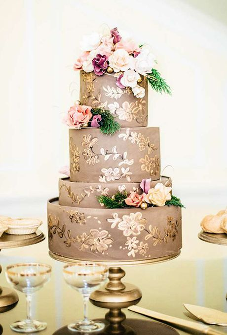 Formal Taupe And Gold Wedding Cake