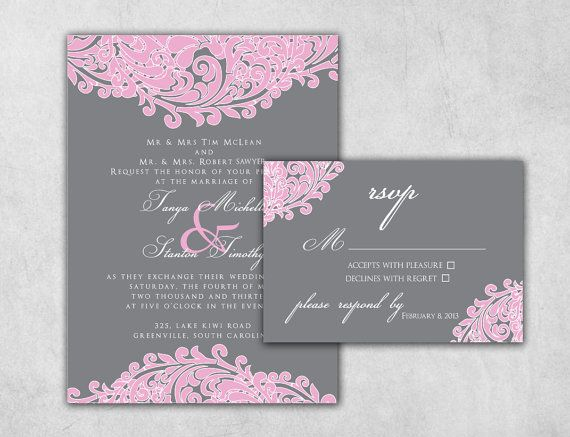 Pink And Grey Custom Wedding Invitation Set Including Invitation U0026 RSVP   Response  Card