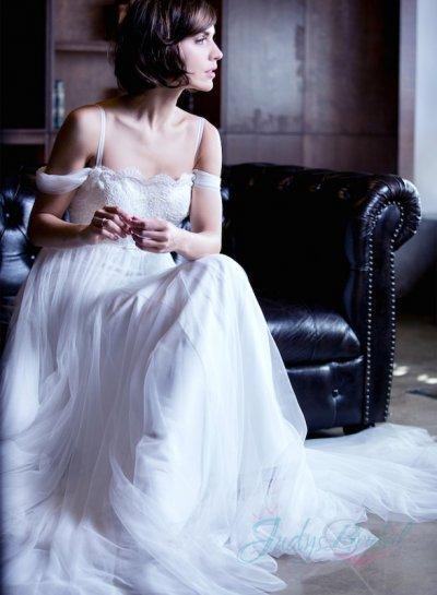 Hochzeit - JOL265 romantic off shoulder light ariy tulle beach wedding dress