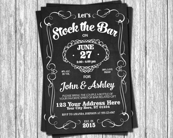 Stock The Bar Invitation Engagement Party Invitations Whiskey