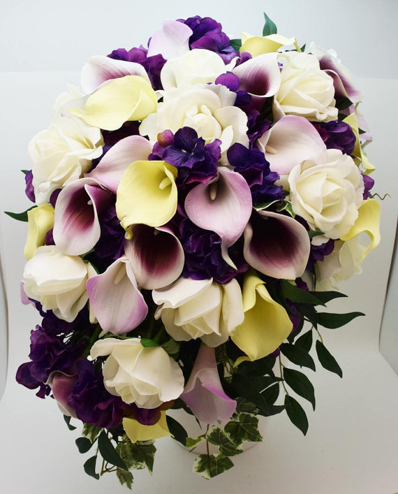 Hochzeit - Reserved- Cascade Bridal Bouquet Featuring Real Touch Picasso Callas,White Roses, and Purple Hydrangea Bridesmaids Bouquets Boutonnieres