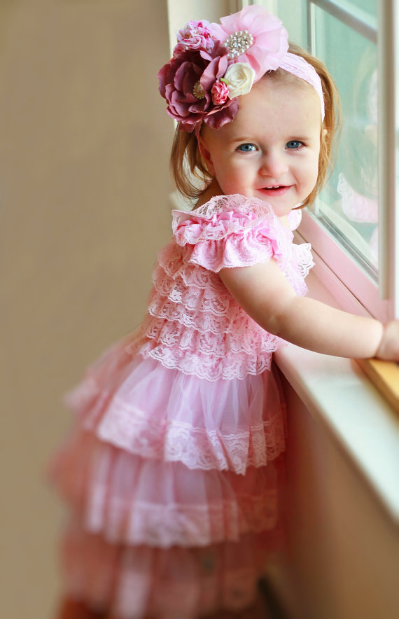 Pink Lace Dress Headband SETToddler Dressbaby Dress