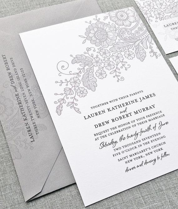 زفاف - NEW Lauren Gray Lace Wedding Invitation Sample - Custom Wedding Invitation