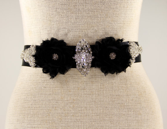 Hochzeit - Black Bridal Sash - Wedding Dress Sash Belt - Black Rhinestone Crystal Wedding Sash - Black Rhinestone Bridal Sash