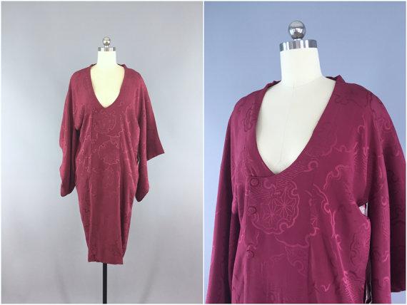 Mariage - Vintage Silk Michiyuki / Short Robe / Kimono Coat / Kimono Jacket / 1940s Merlot Maroon Silk