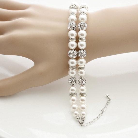 Hochzeit - Pearl Bridal Bracelet Wedding Jewelry 2 Strand Pearl Bracelet White Ivory OR Cream Swarovski Pearl Bracelet