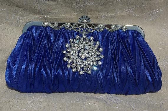 Mariage - Royal Sapphire Blue Satin Clutch - Blue Bridesmaid Clutch - Blue Crystal Handbag - Royal Blue Wedding Clutch - Crystal Bridal Clutch