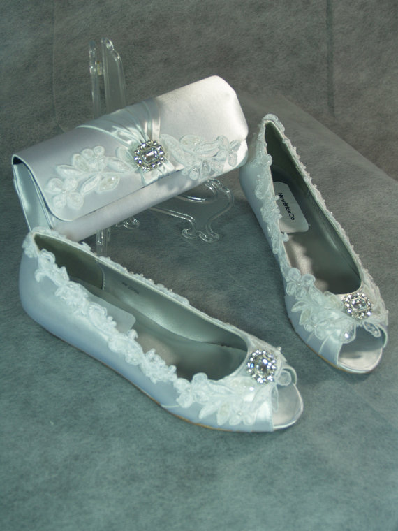 زفاف - Wedding Wedge Shoes  Low - Bridal shoes Crystals Lace Satin White or Ivory