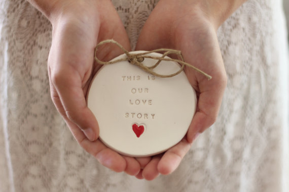 Свадьба - Ring bearer pillow alternative, Wedding ring dish - This is our love story Ring bearer Wedding Ring pillow Ceramics and pottery