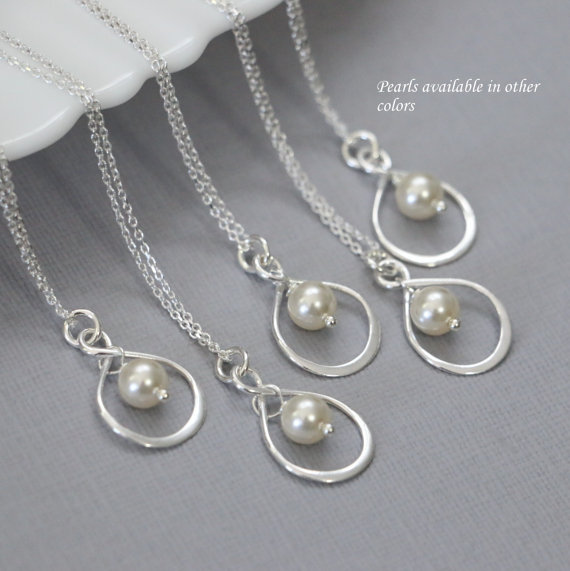 Mariage - Set of 5 Swarovski Ivory Pearl Necklaces, Bridesmaid Jewelry, Bridesmaid Gifts
