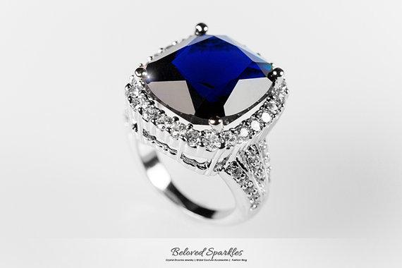 Hochzeit - Sapphire Blue Ring, 21 Carat Sapphire CZ Engagement Cocktail Ring, Vintage Classic Cubic Zirconia Royal Sapphire Statement Anniversary Ring