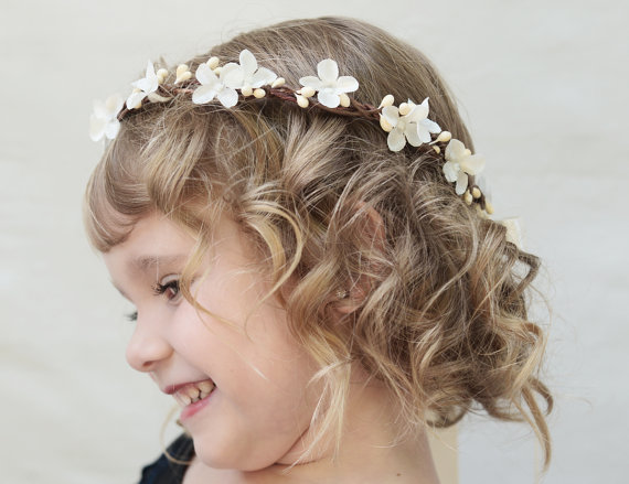 Ivory Blossom Flower Girl Crown - Flower Hair Wreath 21648fbb048