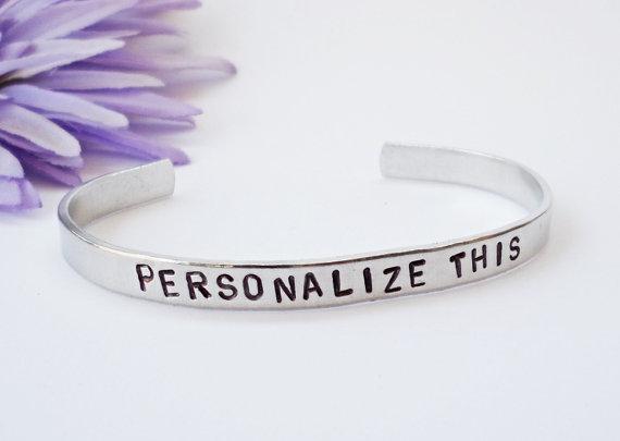 Свадьба - Custom Cuff - Personalized Bracelet - Name Gift - Wedding Gift - Wedding Jewelry - Anniversary Gift - Personalized Gift - Custom Bracele